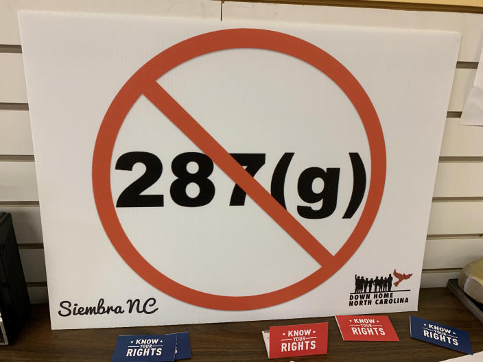 A sign against 287(g)
