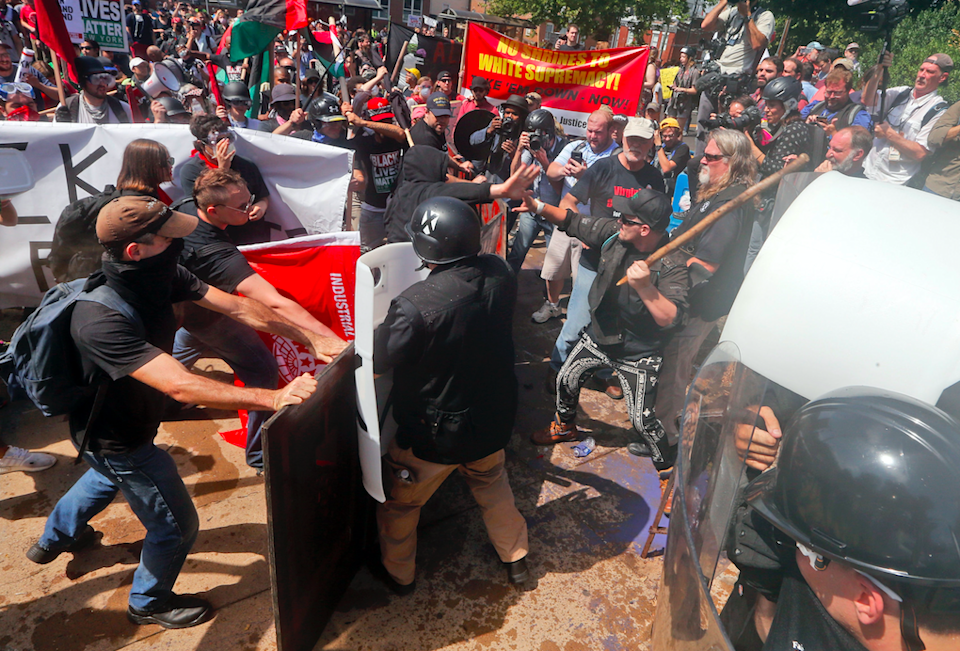 White supremacists and protesters clash in Charlottesville, Virginia (PA)