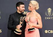 <p>What a night!<em> Ted Lasso</em> costars Brett Goldstein and Hannah Waddingham celebrated their first-time wins (for outstanding supporting actor in a comedy series and outstanding supporting actress in a comedy series, respectively) by posing with their trophies.</p>