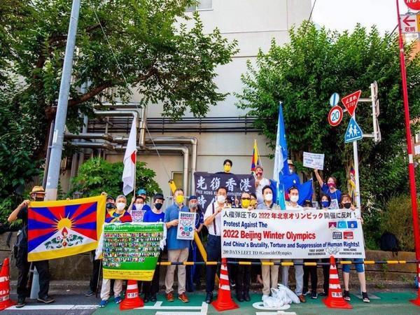 Tibetans, Uyghurs, Mongolians, and human rights defenders protesting against Chinese human rights abuses (ANI)