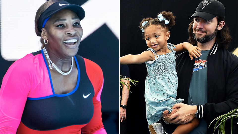 Serena Williams and daughter Alexis Olympia, pictured here at the Australian Open.