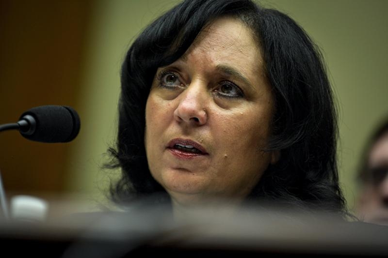 Then-DEA Administrator Michele Leonhart testifies before the House Committee on Oversight and Government Reform onApril 14, 2015. The hearing pertained tosexual harassment and misconduct allegations at the DEA and FBI.