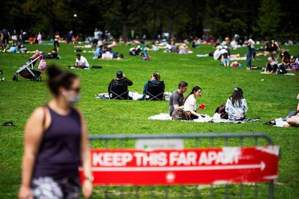 PHOTO: People rest and enjoy the day at Central Park while maintaining social distancing during the outbreak coronavirus in New York, May 2, 2020. (Eduardo Munoz/Reuters, FILE)