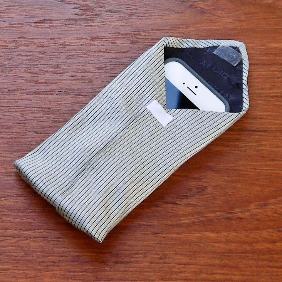 "<p>Use an old tie he barely wears to make this <a href=""https://www.popsugar.com/smart-living/DIY-Tie-Phone-Case-32347696"" class=""link rapid-noclick-resp"" rel=""nofollow noopener"" target=""_blank"" data-ylk=""slk:one-of-a-kind phone case"">one-of-a-kind phone case</a>. </p>"