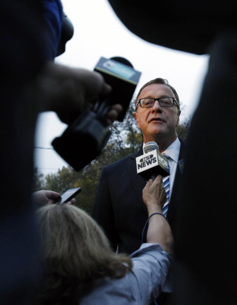 Republican U.S. Senate candidate Steve Lonegan answers a question after voting in Bogota, N.J., Wednesday, Oct. 16, 2013. Lonegan and Democrat Cory Booker are vying to fill the Senate seat left vacant by the death of Frank Lautenberg. (AP Photo/Mel Evans)