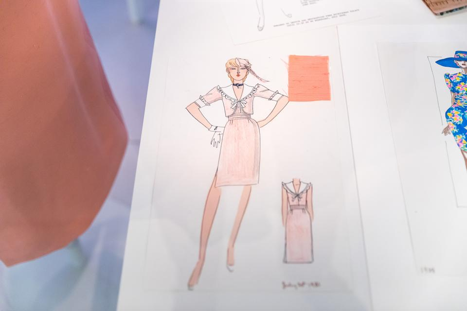 LONDON, ENGLAND - JUNE 02: Designs made for Diana, Princess of Wales on display during the