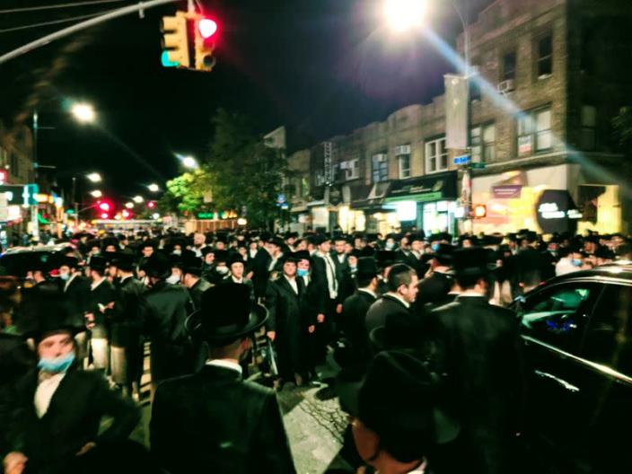 Orthodox Jews take part in a demonstration in Brooklyn, in New York City