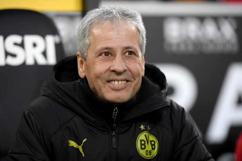 MOENCHENGLADBACH, GERMANY - MARCH 07: Dortmund's head coach Lucien Favre gestures prior to the Bundesliga match between Borussia Moenchengladbach and Borussia Dortmund at Borussia-Park on March 07, 2020 in Moenchengladbach, Germany. (Photo by Frederic Scheidemann/Bongarts/Getty Images)