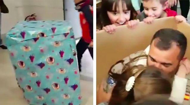 Paloma Larios couldn't hide her joy at seeing her dad inside the box. Photo: Yahoo UK