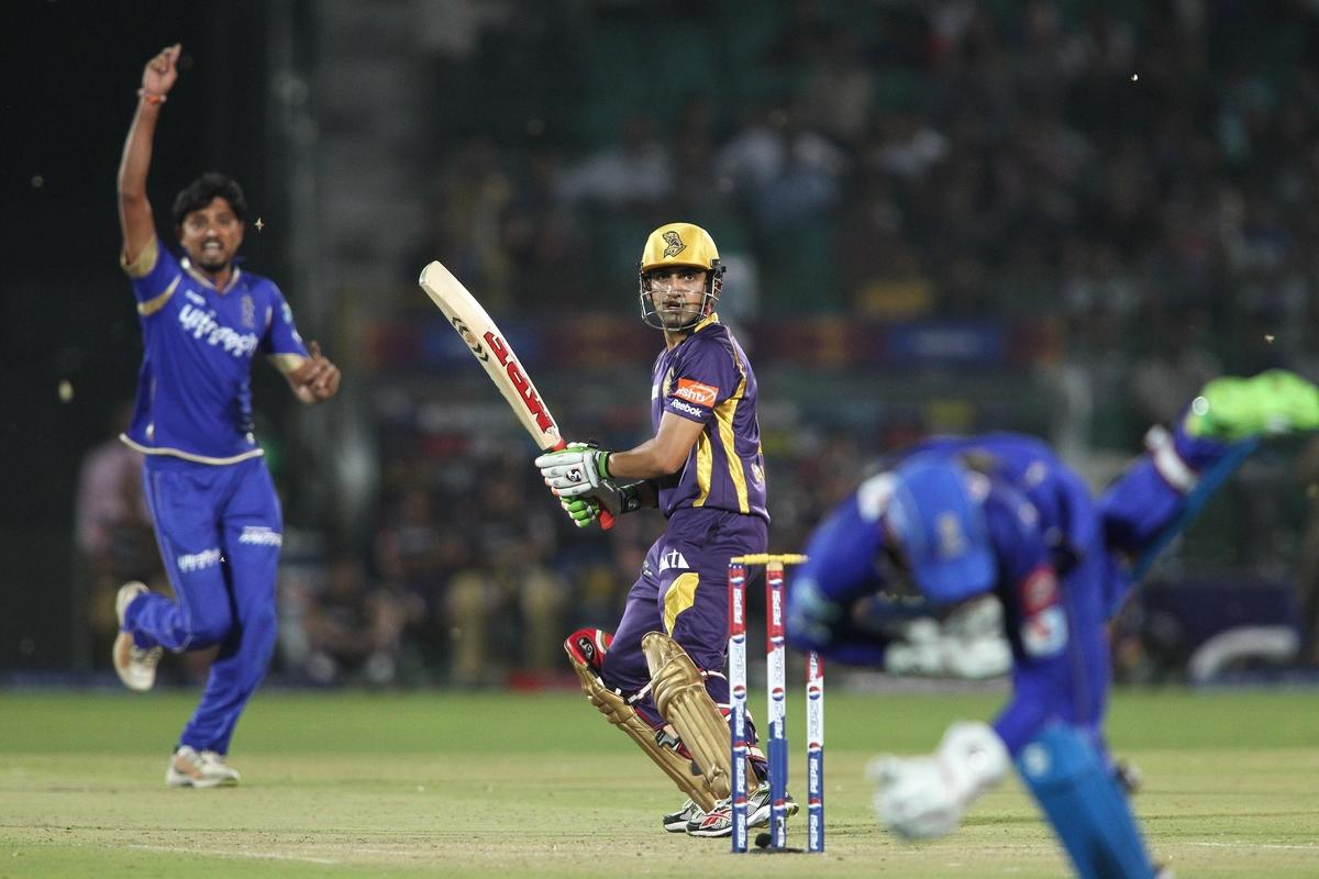 Kolkata Knight Riders captain Gautam Gambhir looks back as Siddharth Trivedi of Rajasthan Royals celebrates Dishant Yagnik of Rajasthan Royals catch during match 8 of the the Pepsi Indian Premier League ( IPL) 2013 between The Rajasthan Royals and the Kolkata Knight Riders held at the Sawai Mansingh Stadium in Jaipur on the 8th April 2013..Photo by Shaun Roy-IPL-SPORTZPICS..Use of this image is subject to the terms and conditions as outlined by the BCCI. These terms can be found by following this link:..https://ec.yimg.com/ec?url=http%3a%2f%2fwww.sportzpics.co.za%2fimage%2fI0000SoRagM2cIEc&t=1492978406&sig=9C8UoL1xQ.Gmc7mO51Pd.g--~C