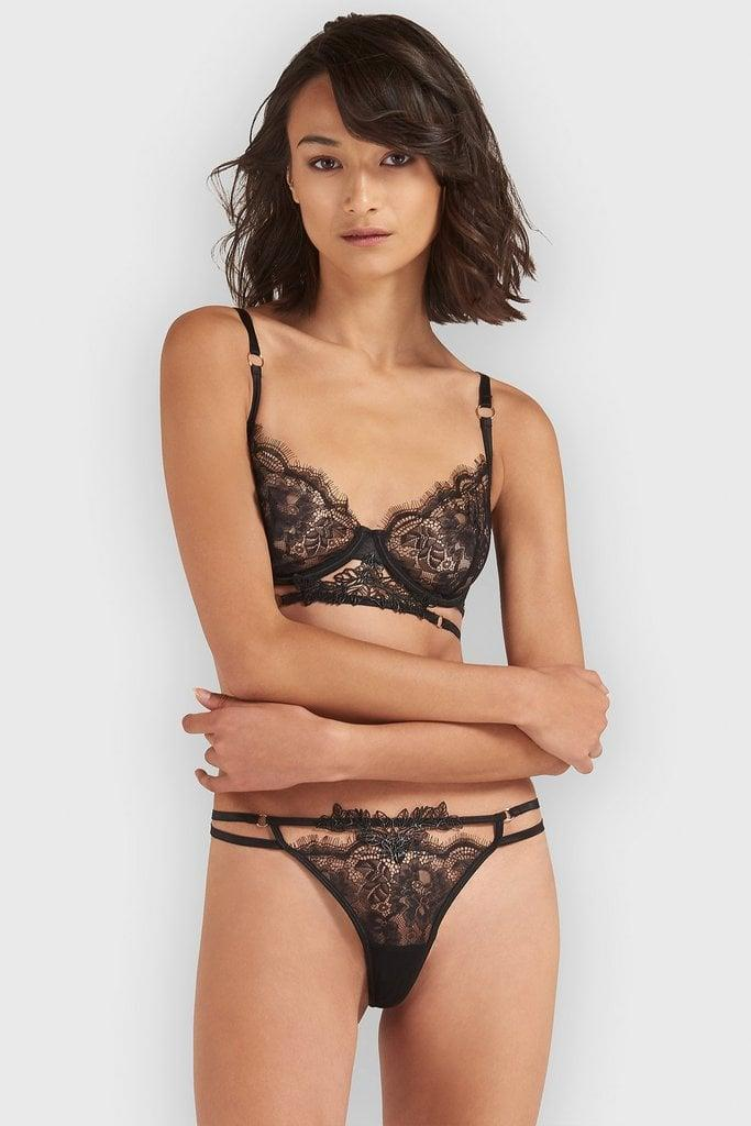 <p>Black lace, sultry straps, and intricate details make this <span>Bluebella Lumi Black Set</span> ($92) a work of art.</p>