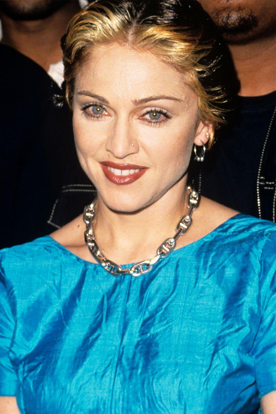 """<p>When Madonna is first greeted by David Letterman during <a href=""""https://www.youtube.com/watch?v=-ICwXuF7XKQ"""" rel=""""nofollow noopener"""" target=""""_blank"""" data-ylk=""""slk:this appearance on his talk show"""" class=""""link rapid-noclick-resp"""">this appearance on his talk show</a>, she sneakily shakes his hand, <span class=""""redactor-unlink"""">passing off her underwear</span> (or a pair of underwear) to him. Right from the start Madonna called the TV show host a """"sick fuck""""—but in a playful way, acknowledging the fact that he's always asking about her sex life.</p>"""