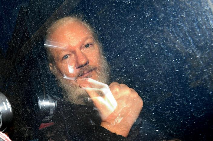 Julian Assange arrives at Westminster Magistrates' Court in London after being taken into custody, April 11, 2019. (Photo: Victoria Jones/PA via AP)