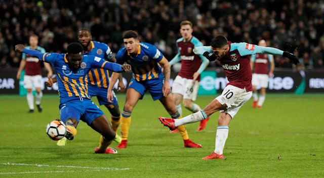 Soccer Football - FA Cup Third Round Replay - West Ham United vs Shrewsbury Town - London Stadium, London, Britain - January 16, 2018 West Ham United's Manuel Lanzini has a shot cleared off the line REUTERS/David Klein