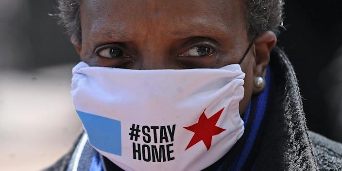 Chicago mayor Lori Lightfoot wears a face mask at Wrigley Field in Chicago, Illinois, on April 16, 2020.