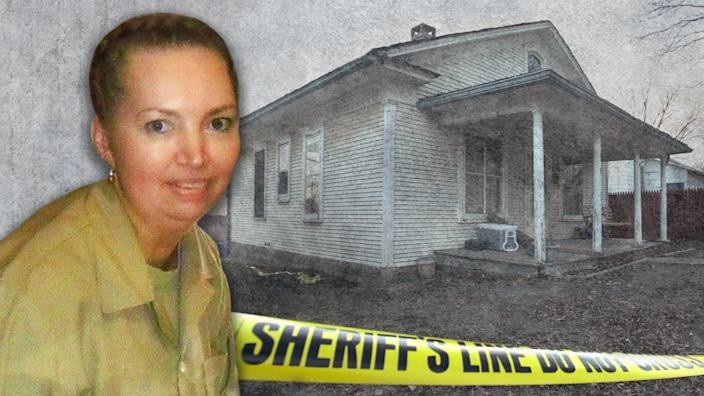 Lisa Montgomery with (behind) the home of Bobbi Jo Stinnett, Skidmore, Missouri, US