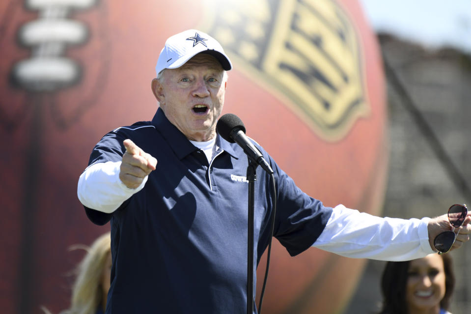 Dallas Cowboys owner Jerry Jones welcomes fans to his team's opening practice at the NFL football team's training camp in Oxnard, Calif., Saturday, July 27, 2019. (AP Photo/Michael Owen Baker)