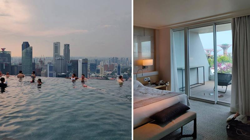 Marina Bay Sands pool and hotel room