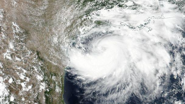PHOTO: A satellite image shows Tropical Storm Hanna as it moves trough the Gulf of Mexico and approaches Texas, July 24, 2020. Tropical Storm Hanna is expected to reach hurricane strength upon making landfall in Texas by nightfall on July 25. (NASA/Handout/EPA via Shutterstock)