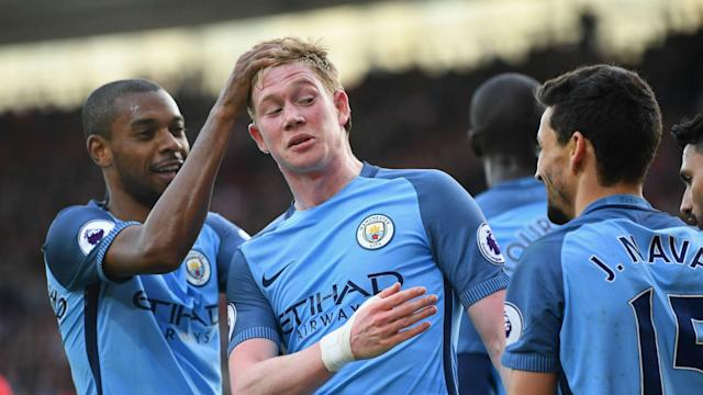 Kevin De Bryune's willingness to sacrifice himself for the team cause has won the admiration of Manchester City manager Pep Guardiola.