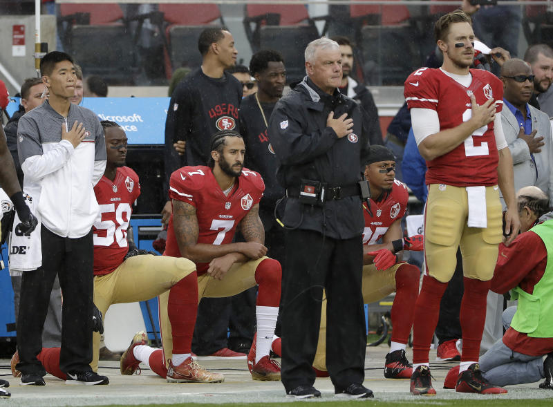 Colin Kaepernick (7) is still waiting on the phone to ring fpr an NFL job opportunity. (AP)
