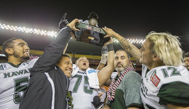 Nick Rolovich and Hawaii always come up with creative ways to give out scholarships. (AP)