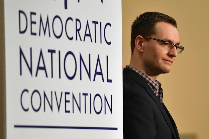 Robby Mook at a press conference in Philadelphia. (Photo: Jeff J. Mitchell/Getty Images)