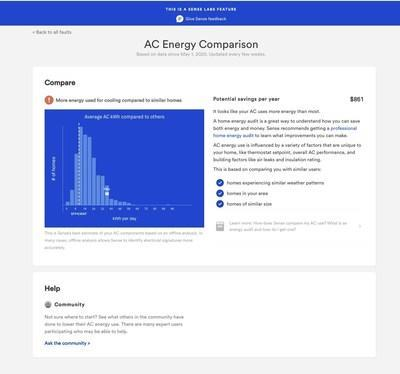 Sense compared AC energy usage across the U.S. to identify homes that were less efficient.