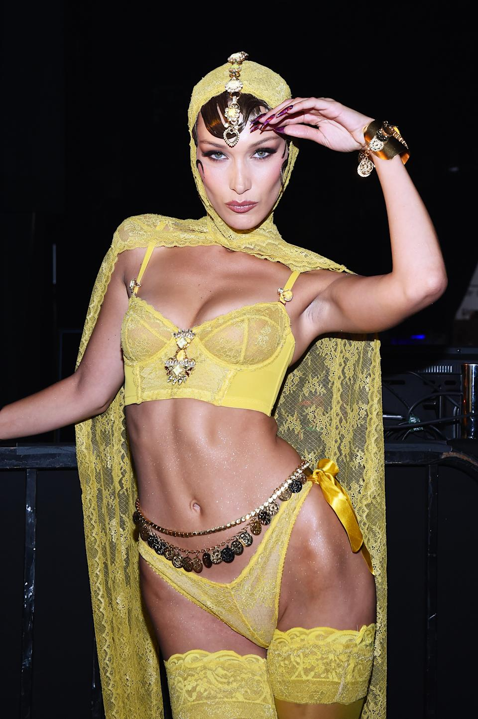 BROOKLYN, NEW YORK - SEPTEMBER 10: Bella Hadid prepares backstage for Savage X Fenty Show Presented By Amazon Prime Video - Backstage at Barclays Center on September 10, 2019 in Brooklyn, New York. (Photo by Ilya S. Savenok/Getty Images for Savage X Fenty Show Presented by Amazon Prime Video )