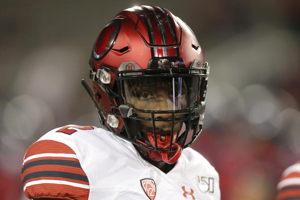 FILE - Utah defensive back Aaron Lowe (2) is shown in the first half of an NCAA college football game against Arizona, in Tucson, Ariz., in this Saturday, Nov. 23, 2019, file photo. A University of Utah football player has been killed in a shooting at a house party early Sunday, Sept. 26, 2021, Salt Lake City police said. The shooting that killed Aaron Lowe occurred just after midnight, only hours after the Utes beat Washington State 24-13. Police said another victim in the attack was in critical condition and authorities were searching for a suspect. (AP Photo/Rick Scuteri, File)