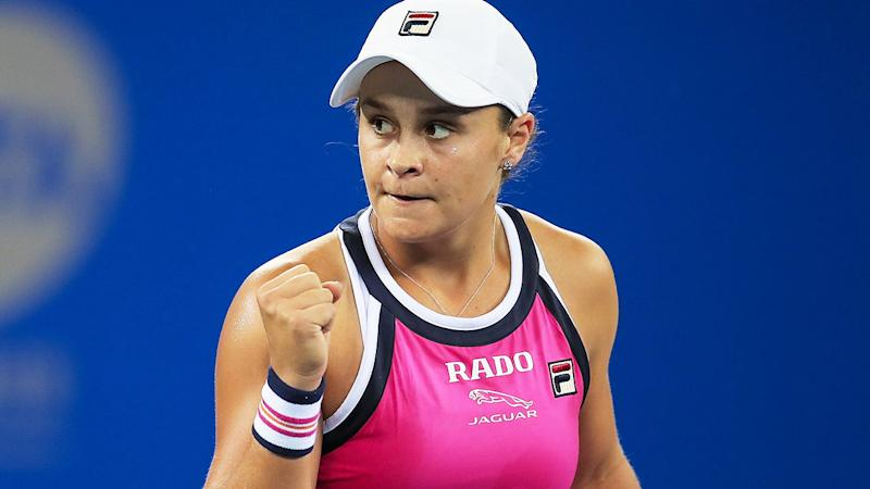 Ashleigh Barty, pictured here after her win over Carolina Garcia.