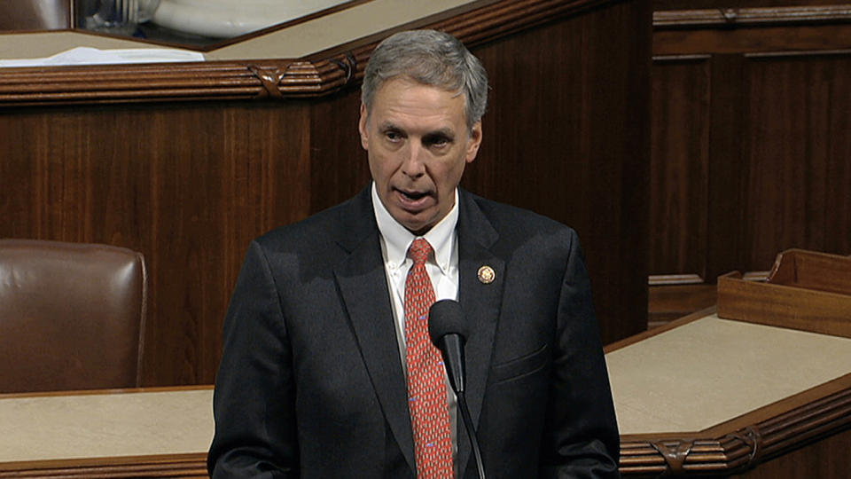 Rep. Tom Rice, R-S.C., speaks as the House of Representatives debates the articles of impeachment against President Trump in 2019. (House Television via AP)