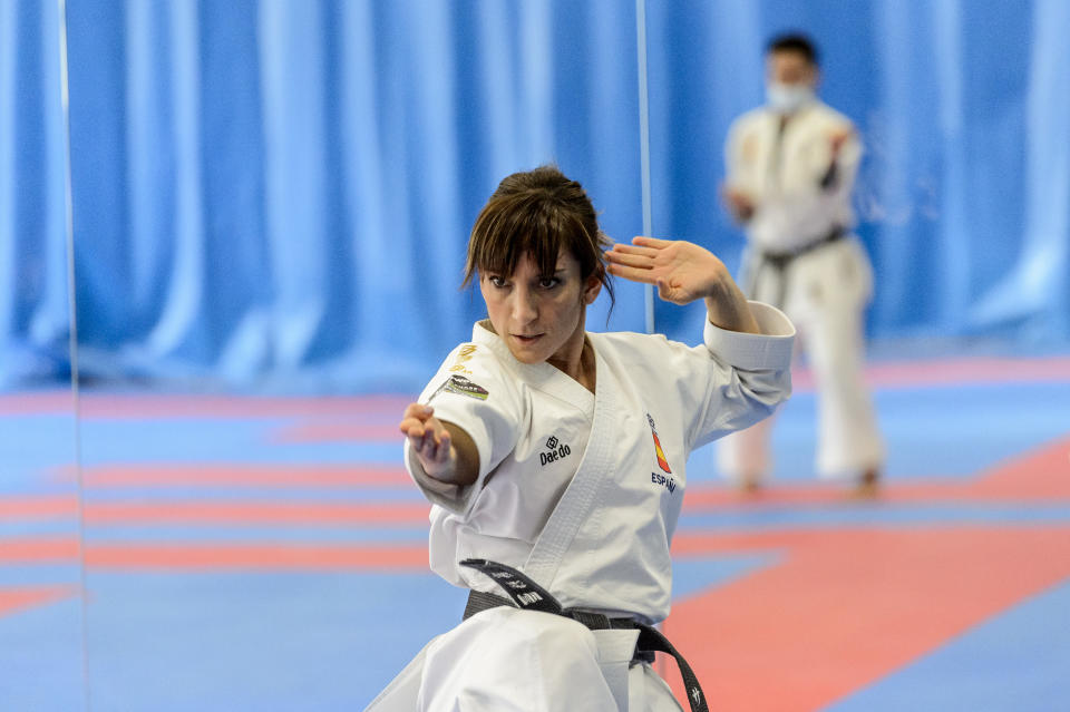 MADRID, SPAIN - FEBRUARY 24: The Spanish Karate sportswoman Sandra Sanchez is pictured during a training session on February 24, 2021 in Madrid, Spain. (Photo by Juan Naharro Gimenez/Getty Images)