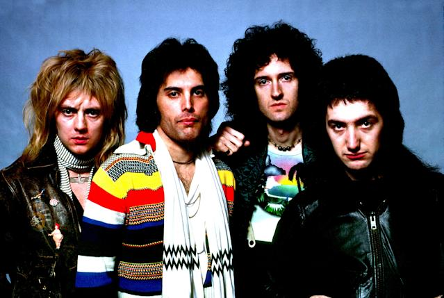 Photo of Queen; Roger Taylor, Freddie Mercury, Brian May, John Deacon, posed group portrait (Photo by Richard E. Aaron/Redferns)