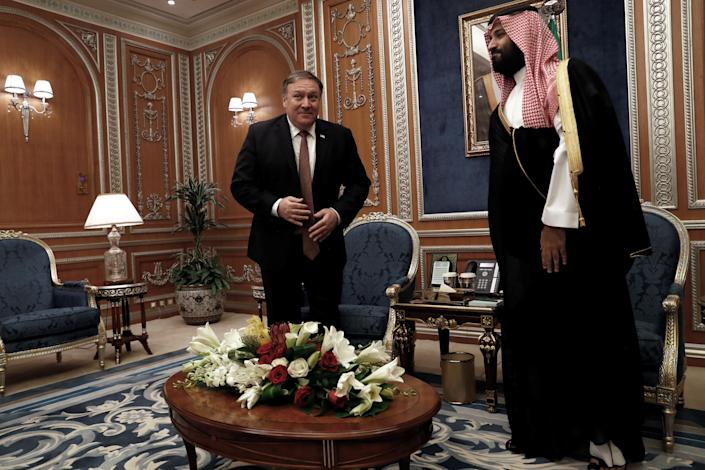 Secretary of State Mike Pompeo meets with the Saudi Crown Prince Mohammed bin Salman in Riyadh, Saudi Arabia, on Tuesday. (Photo: Leah Millis/Pool/Reuters)