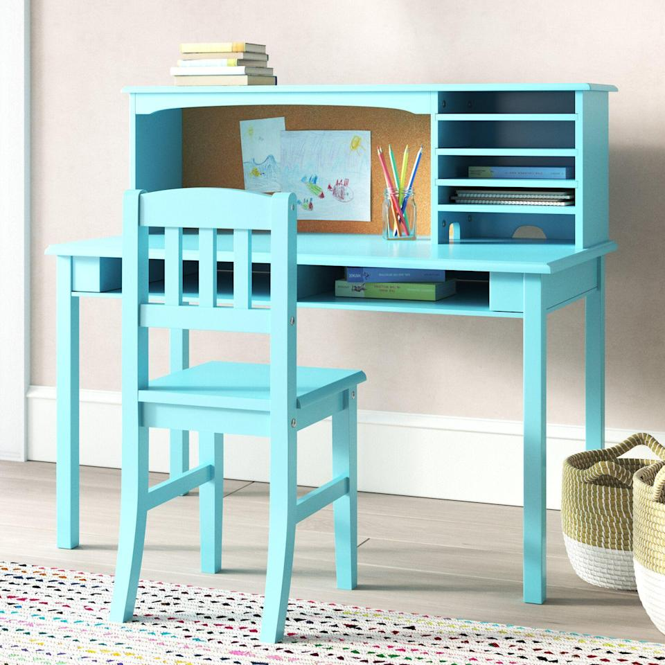 """<p><strong>Harriet Bee</strong></p><p>wayfair.com</p><p><strong>$279.90</strong></p><p><a href=""""https://go.redirectingat.com?id=74968X1596630&url=https%3A%2F%2Fwww.wayfair.com%2Fbaby-kids%2Fpdp%2Fharriet-bee-glaser-kids-writing-desk-and-chair-set-with-kids-hutch-w002083766.html&sref=https%3A%2F%2Fwww.housebeautiful.com%2Fshopping%2Ffurniture%2Fg35205213%2Fbest-kids-desks%2F"""" rel=""""nofollow noopener"""" target=""""_blank"""" data-ylk=""""slk:BUY NOW"""" class=""""link rapid-noclick-resp"""">BUY NOW</a></p><p>This writing desk—designed for children ages 5 to 12—comes with a hutch featuring a cork board and multiple compartments to store supplies. Along with teal, it comes in white, navy, lavender, and gray.</p>"""