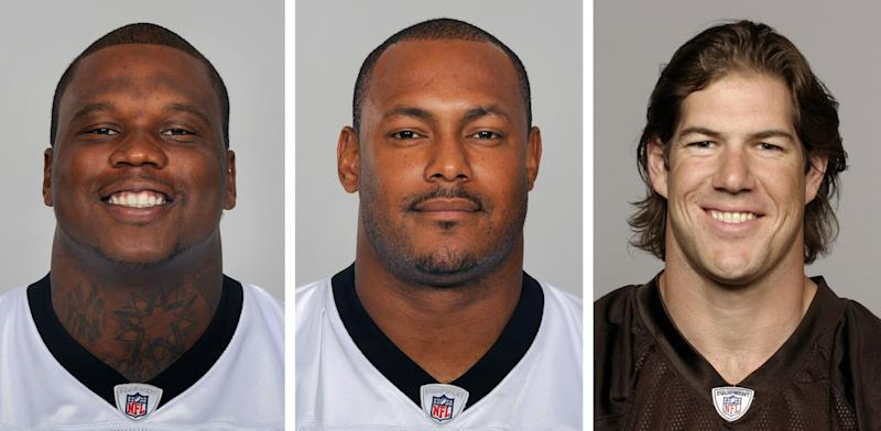 """FILE - From left are NFL football players Anthony Hargrove, in 2010; Will Smith, in 2011; and Scott Fujita, in 2011. The NFL Players Association filed a lawsuit against the NFL on behalf of three players suspended in connection with the bounty investigation, calling Commissioner Roger Goodell """"incurably and evidently biased."""" The lawsuit, filed in federal court in New Orleans on Thursday,July 5, 2012, said Goodell violated the labor agreement by showing he had determined Smith, Hargrove and Fujita participated in a bounty system before serving as an arbitrator at their hearing. (AP Photo/File)"""