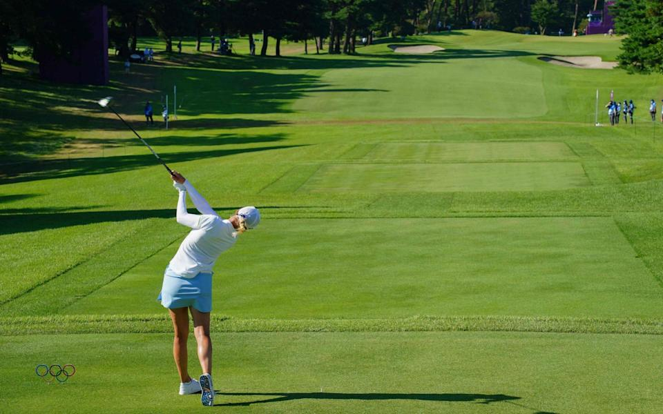 Sweden's Madelene Sagstrom is currently leading in the hunt for gold in the women's golf - AFP