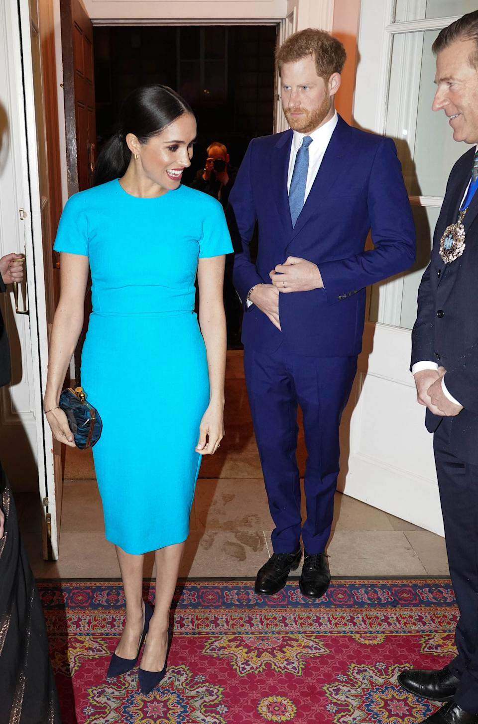 LONDON, ENGLAND - MARCH 05: Prince Harry, Duke of Sussex and Meghan, Duchess of Sussex attend the annual Endeavour Fund Awards at Mansion House on March 5, 2020 in London, England. Their Royal Highnesses will celebrate the achievements of wounded, injured and sick servicemen and women who have taken part in remarkable sporting and adventure challenges over the last year. (Photo by Paul Edwards - WPA Pool/Getty Images)