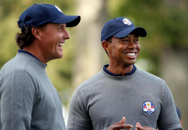 Phil Mickelson, Tiger Woods and Bryson DeChambeau were selected to the 2018 U.S. Ryder Cup team on Tuesday afternoon, filling three of the four Captain's Pick spots. (Getty Images)
