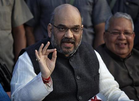 Amit Shah, a leader of India's main opposition Bharatiya Janata Party (BJP), speaks during a news conference in the northern Indian city of Lucknow March 1, 2014. PREUTERS/Pawan Kumar