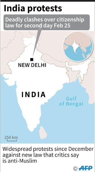 Map of India showing New Delhi where ten people were killed and more than 130 injured Tuesday during protests over a citizenship law