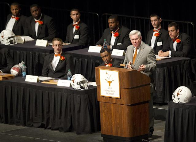 Texas head coach Mack Brown speaks at the University of Texas Longhorns Honors banquet at the Frank Erwin Center in Austin on Friday Dec.13, 2013. (AP Photo/Austin American-Statesman, Jay Janner)