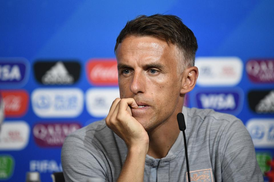 England's head coach Phil Neville gestures during a press conference at the Groupama stadium in Lyon, on June 30, 2019, during the France 2019 Women's World Cup. - USA will face England during the France 2019 Women's World Cup semi-final football match on July 2, 2019. (Photo by FRANCK FIFE / AFP)        (Photo credit should read FRANCK FIFE/AFP/Getty Images)