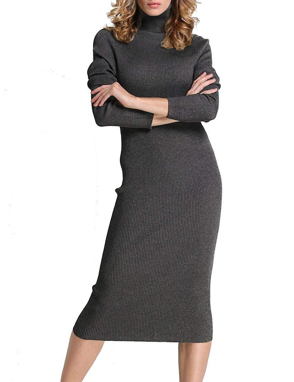 """<br><br><strong>Rocorose</strong> Ribbed Knit Long Sleeve Dress, $, available at <a href=""""https://www.amazon.com/dp/B01N4K6QCW"""" rel=""""nofollow noopener"""" target=""""_blank"""" data-ylk=""""slk:Amazon"""" class=""""link rapid-noclick-resp"""">Amazon</a>"""