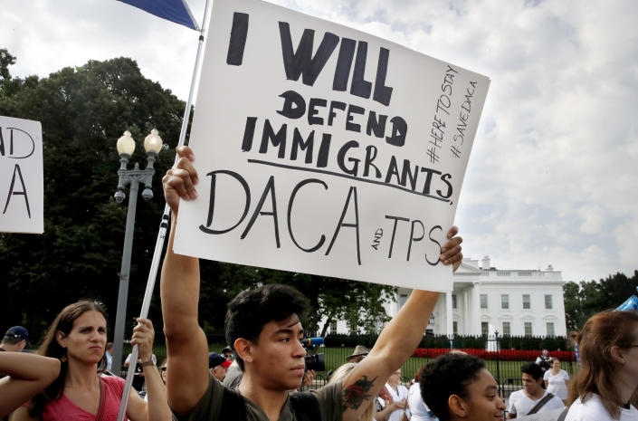Diego Rios, 23, of Rockville, Md., rallies in support of the Deferred Action for Childhood Arrivals program (DACA) outside of the White House, Sept. 5, 2017. (Photo: Jacquelyn Martin/AP)