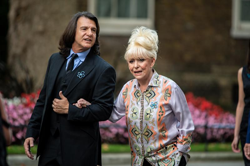 LONDON, ENGLAND - SEPTEMBER 02: Dame Barbara Windsor arrives at 10 Downing Street with her husband Scott Mitchell on September 2, 2019 in London, England. Barbara Windsor, who suffers from Alzheimers, met with the Prime Minister at 10 Downing Street to discuss dementia care. (Photo by Chris J Ratcliffe/Getty Images)