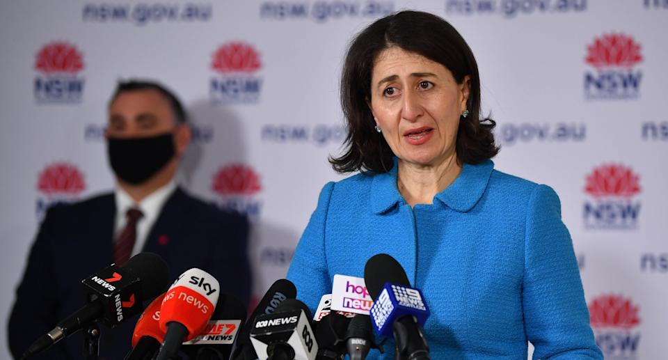 NSW Premier Gladys Berejiklian speaks to the media during a press conference in Sydney, Monday, September 27, 2021. Source: AAP