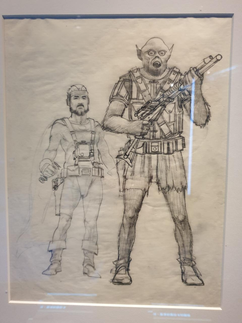 Early concept art of Han Solo and Chewbacca by Ralph McQuarrie at the Star Wars Identities exhibition in Singapore at the Artscience Museum. (Photo: Teng Yong Ping)
