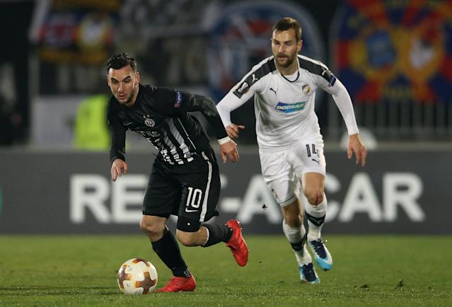 Soccer Football - Europa League Round of 32 First Leg - Partizan Belgrade vs Viktoria Plzen - Partizan Stadium, Belgrade, Serbia - February 15, 2018 Partizan Belgrade's Marko Jankovic in action with Viktoria Plzen's Radim Reznik REUTERS/Marko Djurica